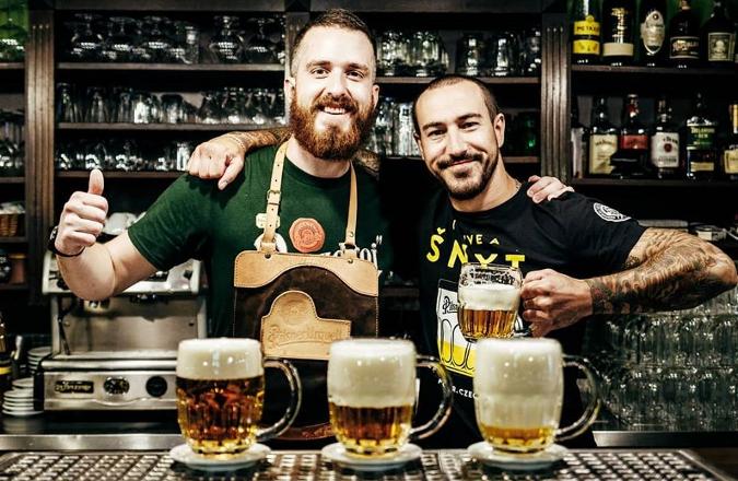 Bartenders at the U Salzmannů Restaurant in Pilsen