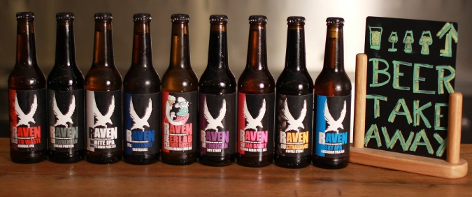 A selection of Craft beer from Raven Brewery in Pilsen